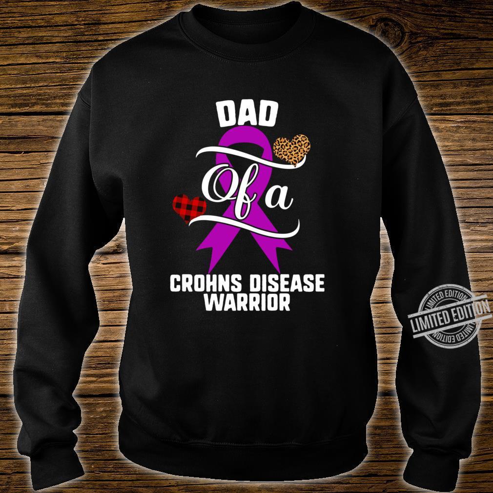 Dad Crohns Disease Warrior Awareness Purple Ribbon Leopard Buffalo Plaid Family Support Shirt sweater